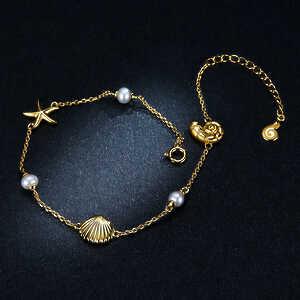 Pulsera ajustable Estrella de mar con perlas