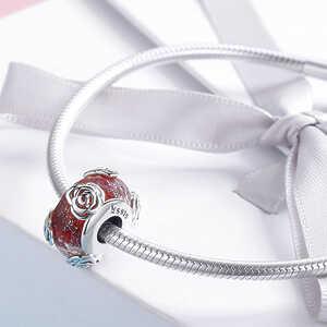 Charm Flor de rose, cristal murano