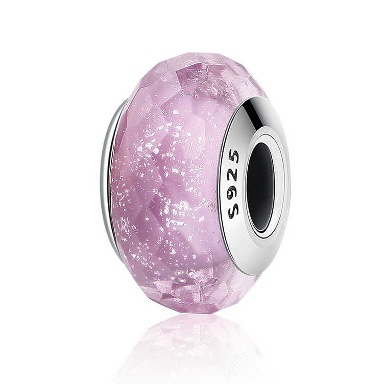Charm Cristal murano facetado rosado